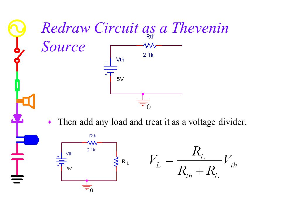 Redraw Circuit as a Thevenin Source w Then add any load and treat it as a voltage divider.