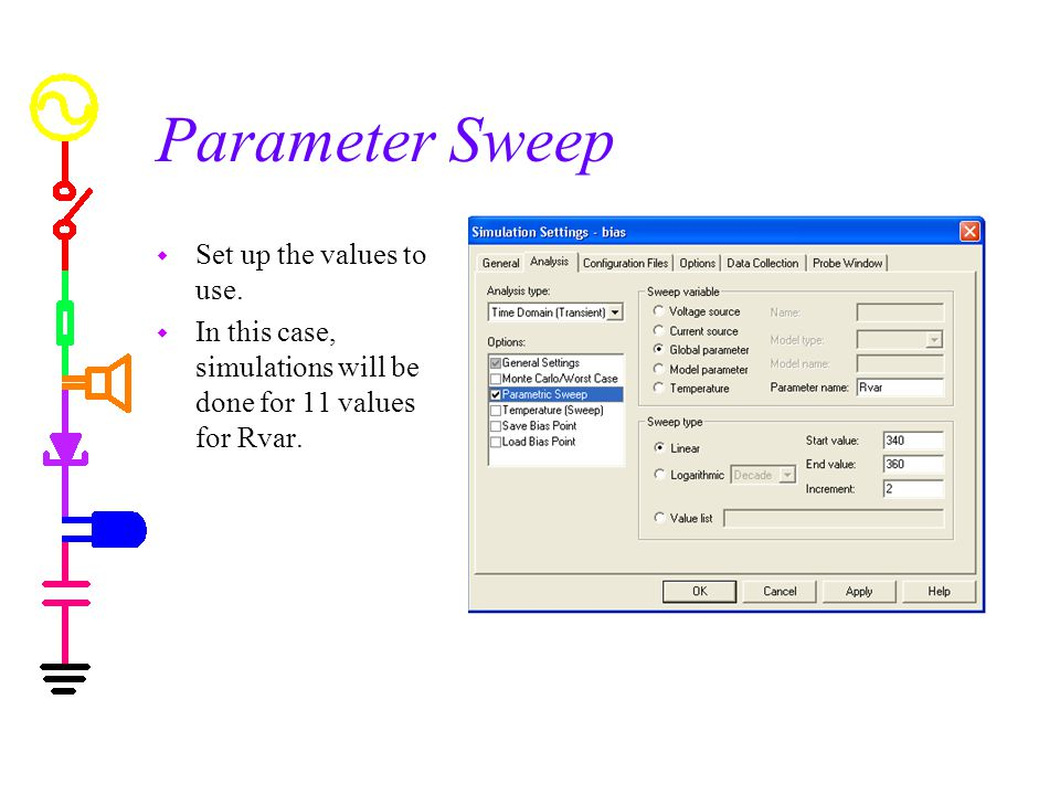 Parameter Sweep w Set up the values to use.