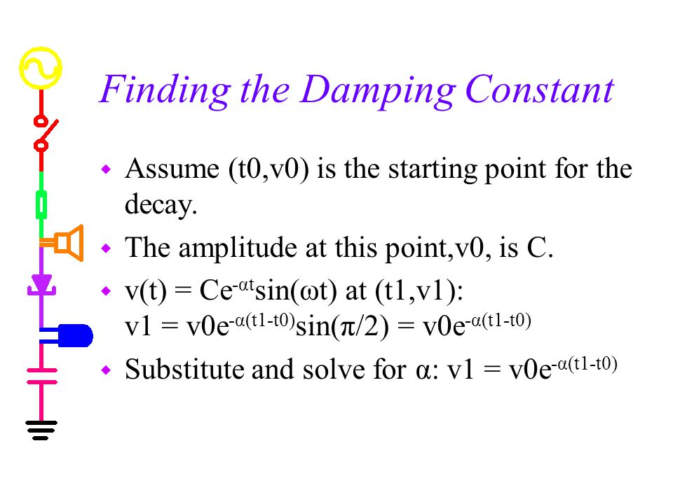 Finding the Damping Constant w Assume (t0,v0) is the starting point for the decay.