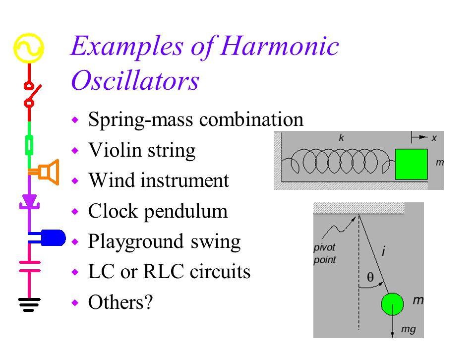Examples of Harmonic Oscillators w Spring-mass combination w Violin string w Wind instrument w Clock pendulum w Playground swing w LC or RLC circuits w Others?