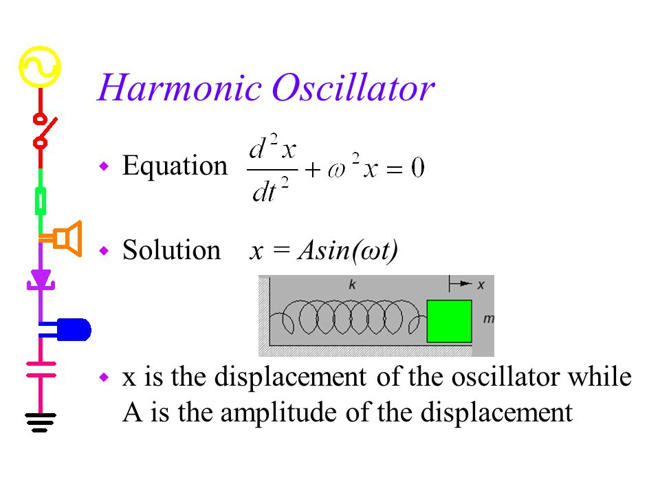 Harmonic Oscillator w Equation w Solution x = Asin(ωt) w x is the displacement of the oscillator while A is the amplitude of the displacement