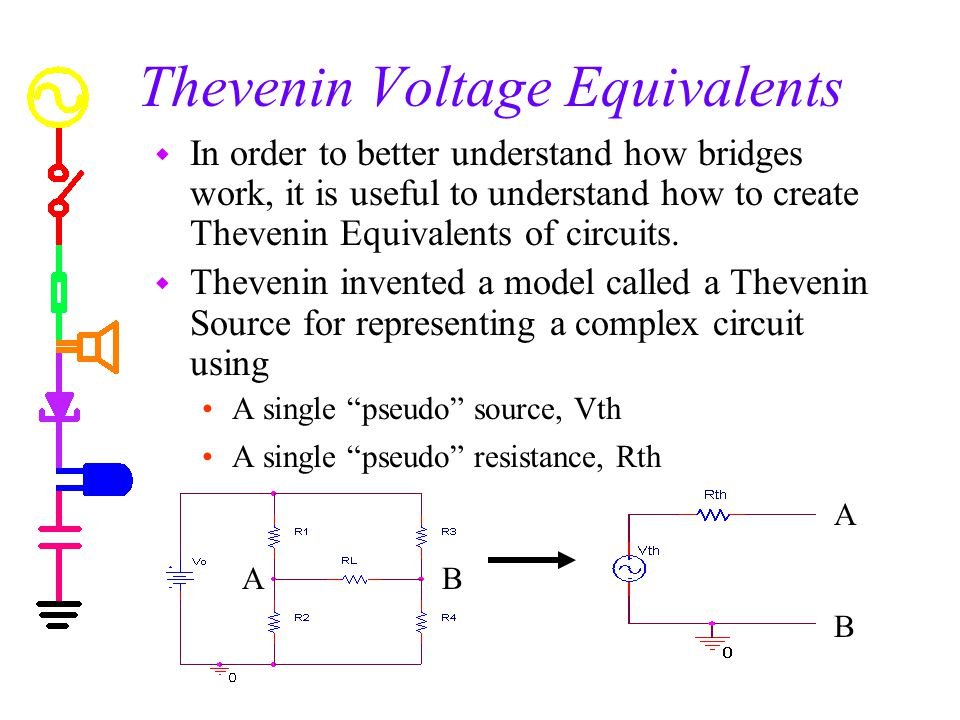 Thevenin Voltage Equivalents w In order to better understand how bridges work, it is useful to understand how to create Thevenin Equivalents of circuits.