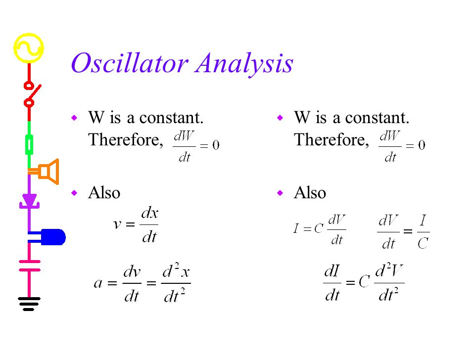 Oscillator Analysis w W is a constant. Therefore, w Also w W is a constant. Therefore, w Also