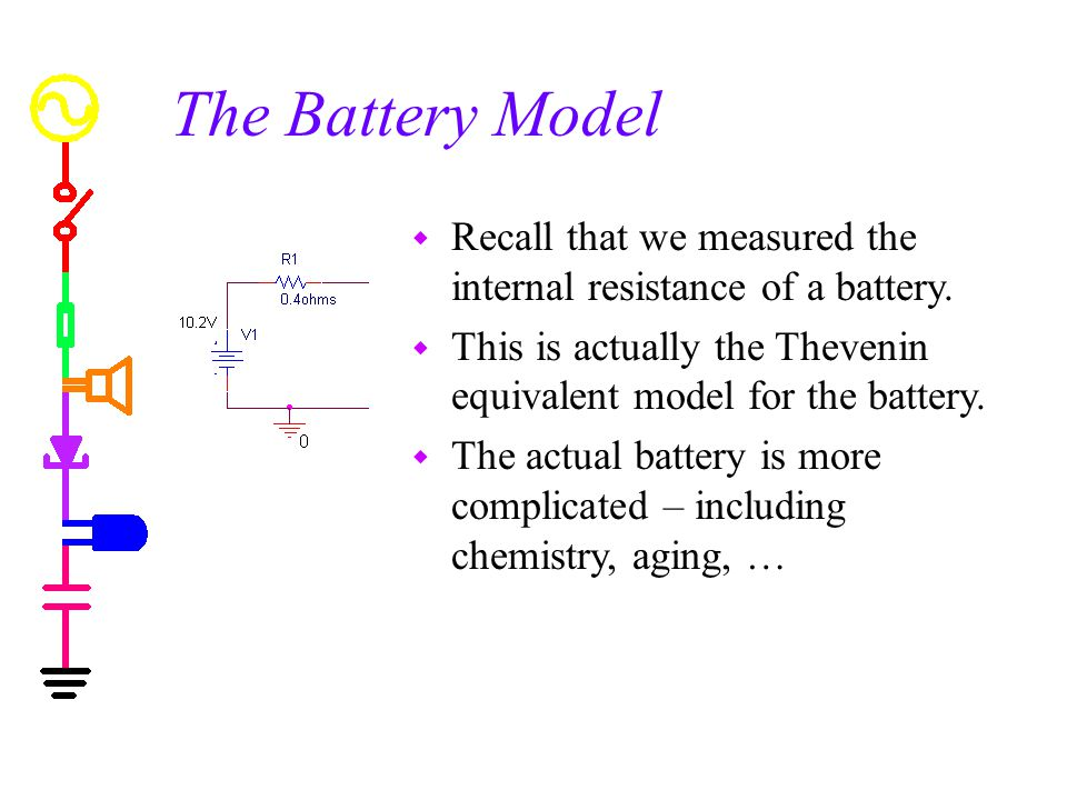 The Battery Model w Recall that we measured the internal resistance of a battery.