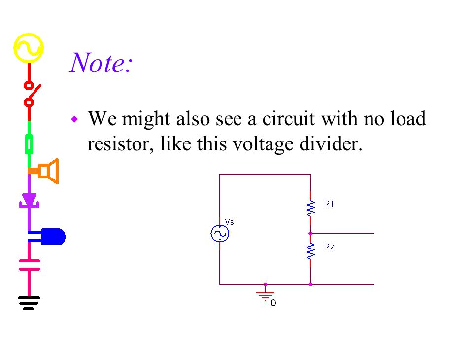 Thevenin Method w Find Vth (open circuit voltage) Remove load if there is one so that load is open Find voltage across the open load w Find Rth (Thevenin resistance) Set voltage sources to zero (current sources to open) – in effect, shut off the sources Find equivalent resistance from A to B A B