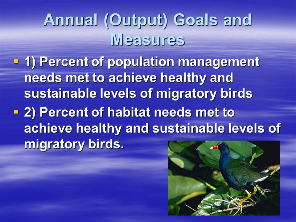 Annual (Output) Goals and Measures  1) Percent of population management needs met to achieve healthy and sustainable levels of migratory birds  2) Percent of habitat needs met to achieve healthy and sustainable levels of migratory birds.