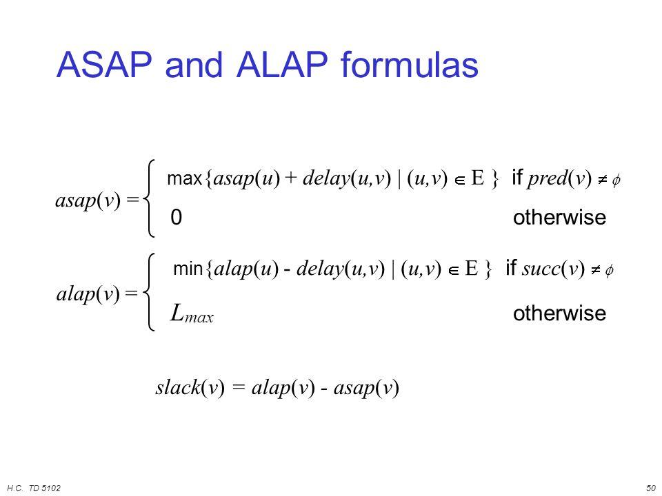 H.C. TD 510250 ASAP and ALAP formulas asap(v) = max {asap(u) + delay(u,v) | (u,v)  E } if pred(v)   0 otherwise alap(v) = min {alap(u) - delay(u,v)