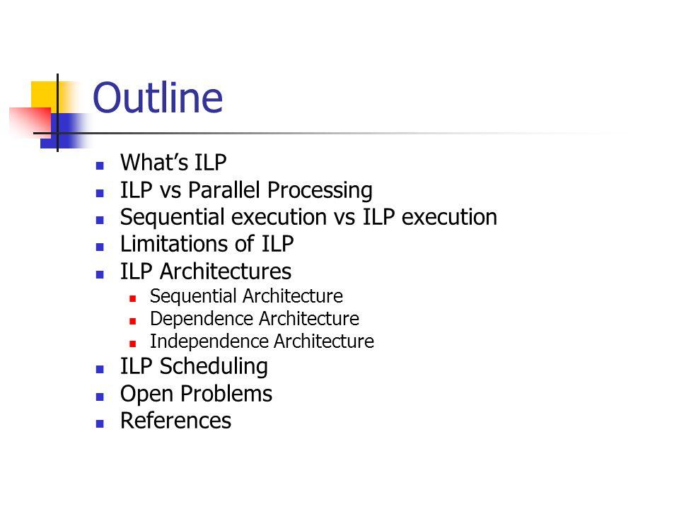 Outline What's ILP ILP vs Parallel Processing Sequential execution vs ILP execution Limitations of ILP ILP Architectures Sequential Architecture Depen