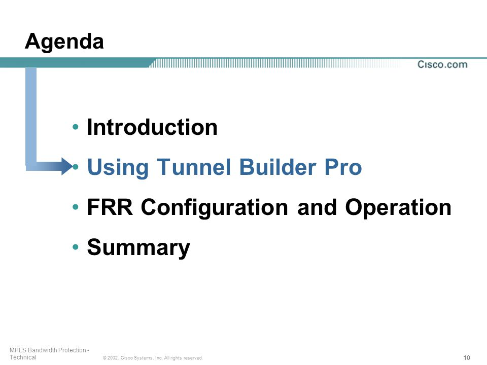10 © 2002, Cisco Systems, Inc. All rights reserved. MPLS Bandwidth Protection - Technical Agenda Introduction Using Tunnel Builder Pro FRR Configurati
