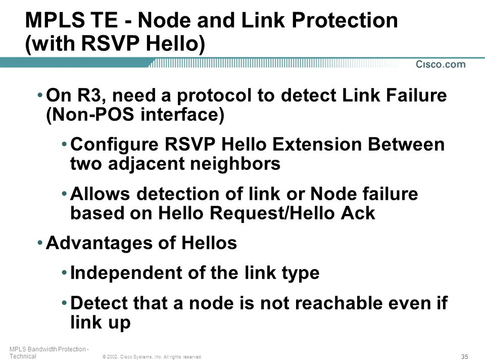 35 © 2002, Cisco Systems, Inc. All rights reserved. MPLS Bandwidth Protection - Technical MPLS TE - Node and Link Protection (with RSVP Hello) On R3,