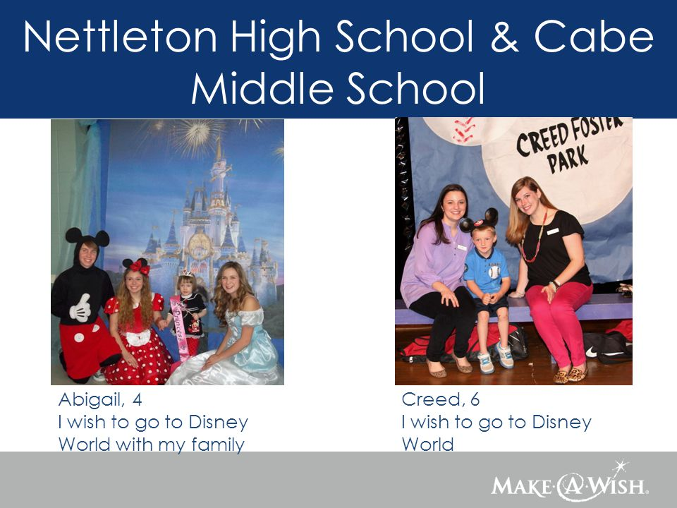 Nettleton High School & Cabe Middle School Abigail, 4 I wish to go to Disney World with my family Creed, 6 I wish to go to Disney World