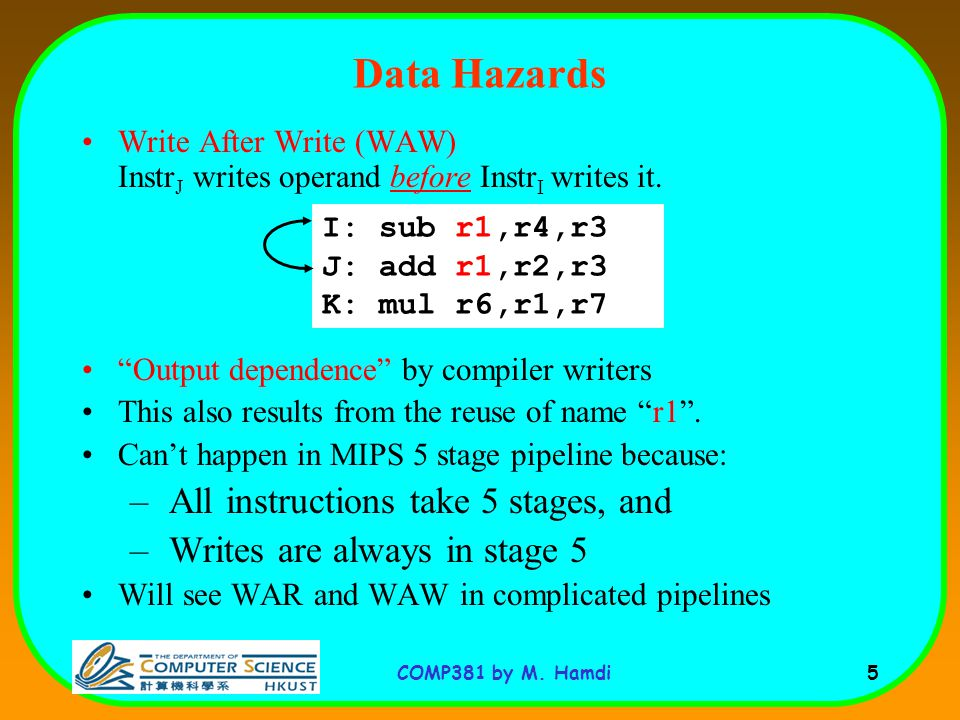 COMP381 by M. Hamdi 5 Write After Write (WAW) Instr J writes operand before Instr I writes it.