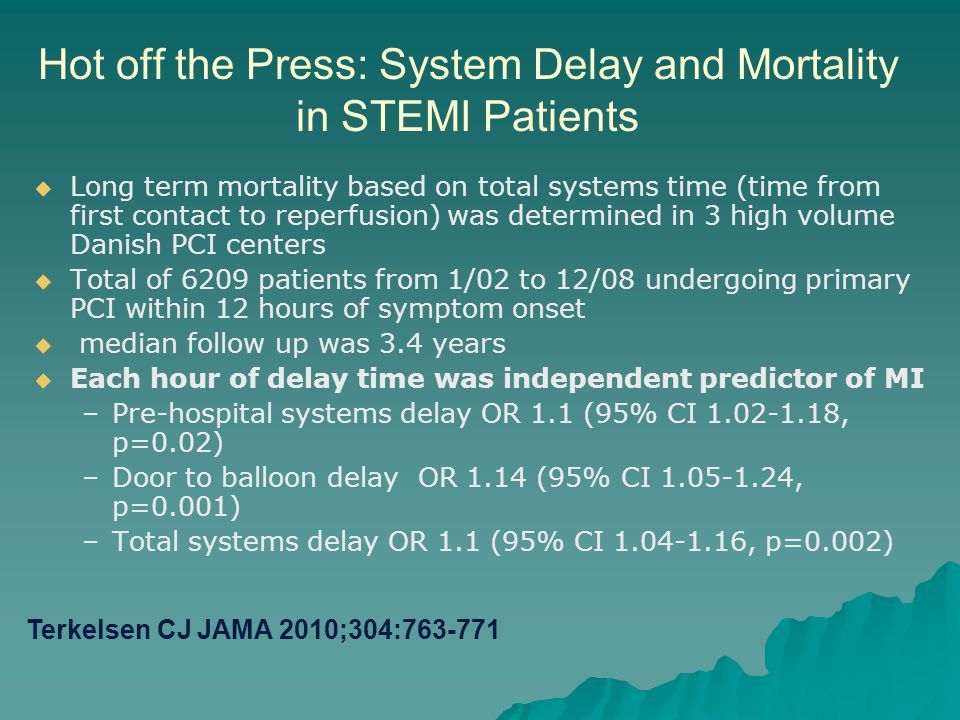 Hot off the Press: System Delay and Mortality in STEMI Patients   Long term mortality based on total systems time (time from first contact to reperf