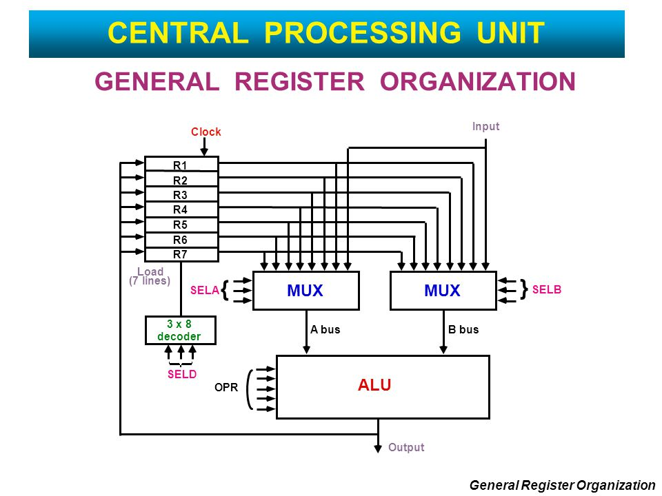GENERAL REGISTER ORGANIZATION General Register Organization CENTRAL PROCESSING UNIT