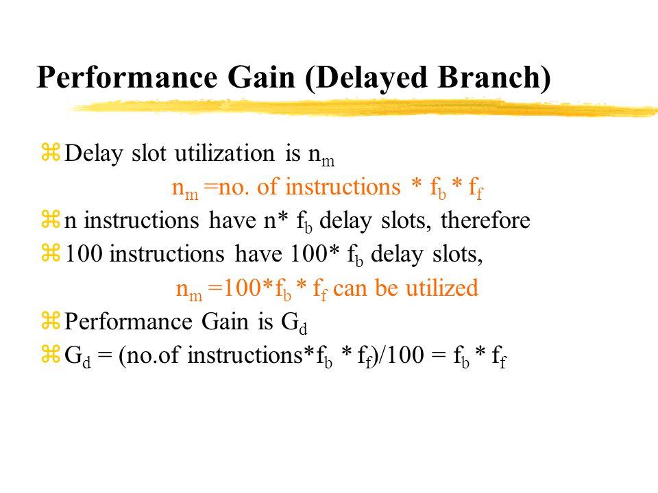 Performance Gain (Delayed Branch) zDelay slot utilization is n m n m =no.