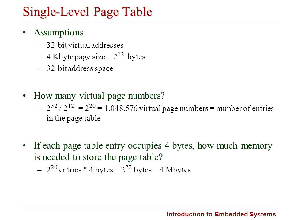 Introduction to Embedded Systems Single-Level Page Table Assumptions –32-bit virtual addresses –4 Kbyte page size = 2 12 bytes –32-bit address space H
