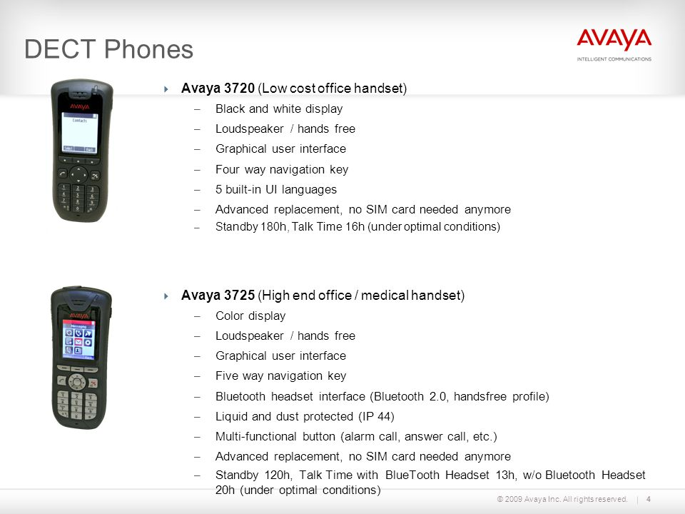 © 2009 Avaya Inc. All rights reserved.4 DECT Phones  Avaya 3720 (Low cost office handset) – Black and white display – Loudspeaker / hands free – Grap