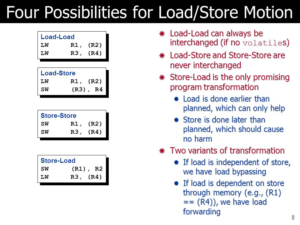 8 Four Possibilities for Load/Store Motion Load-Load LWR1, (R2) LWR3, (R4) Load-Load LWR1, (R2) LWR3, (R4)  Load-Load can always be interchanged (if
