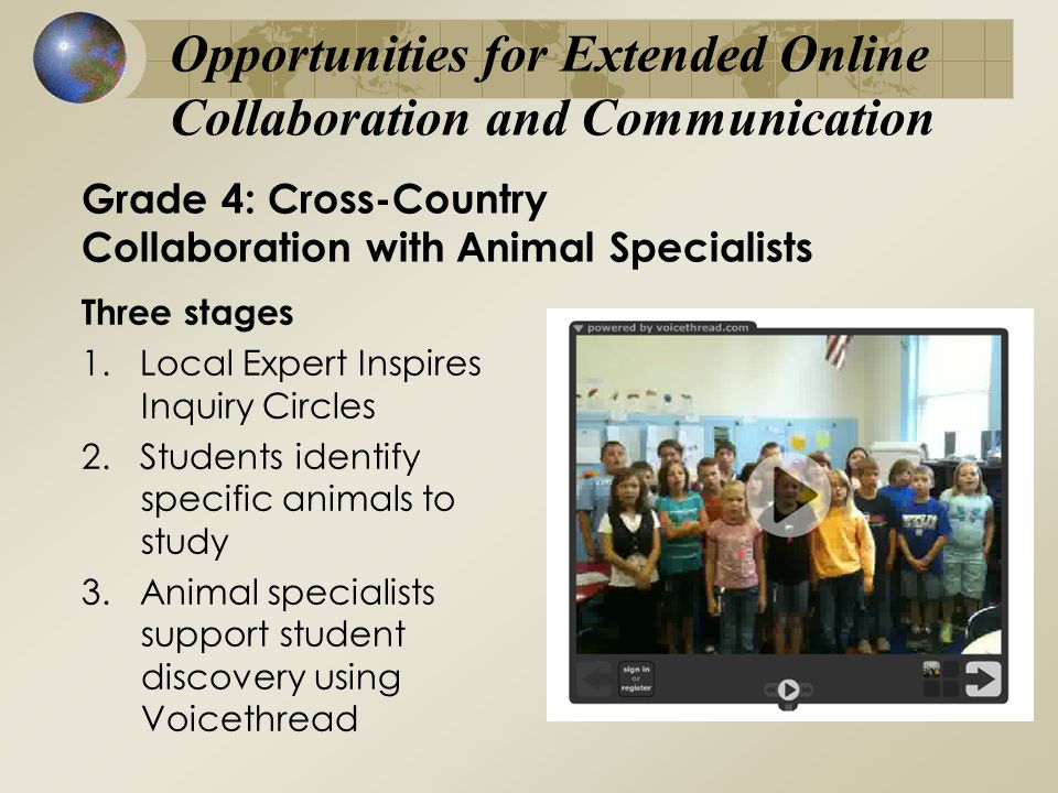 Grade 4: Cross-Country Collaboration with Animal Specialists Three stages 1.