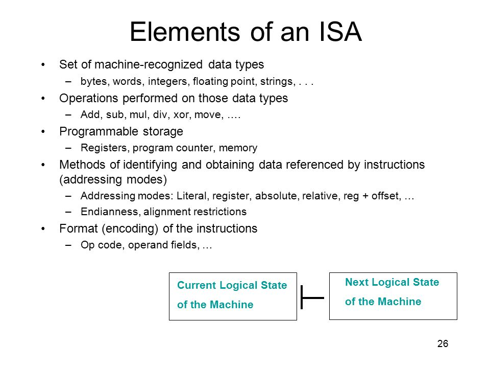 Elements of an ISA Set of machine-recognized data types –bytes, words, integers, floating point, strings,... Operations performed on those data types