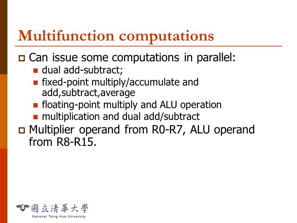 Instruction Sets-49 Example: data operations  Fixed-point -1 + 1 = 0: AZ = 1, AU = 0, AN = 0, AV = 0, AC = 1, AI = 0.