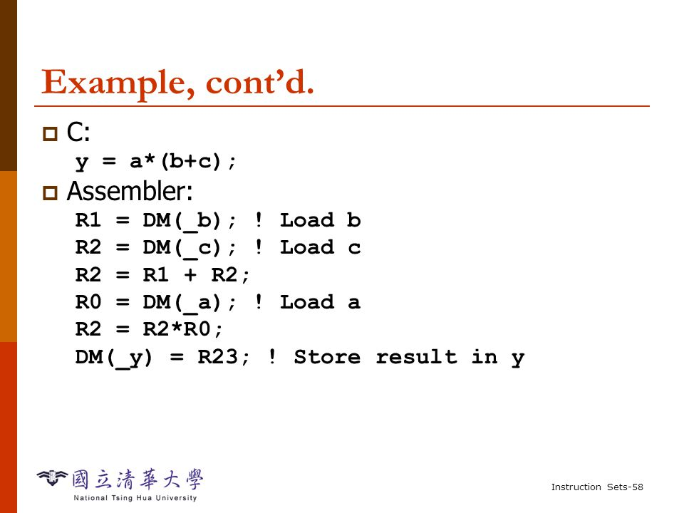 Instruction Sets-57 Example: C assignments  C: x = (a + b) - c;  Assembler: R0 = DM(_a);.