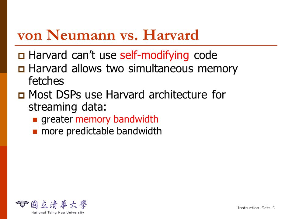 Instruction Sets-4 Harvard Architecture (NOT von Neumann Architecture) CPU PC data memory program memory address data address data