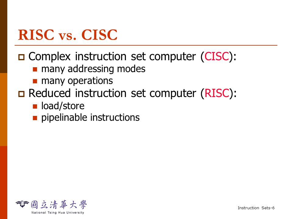 Instruction Sets-36 Example: FIR filter  C for finite impulse response (FIR) filter: for (i=0, f=0; i<N; i++) f = f + c[i]*x[i]; /* x[i]: periodic samples */  Assembler ; loop initiation code MOV r0,#0 ; use r0 for I MOV r8,#0 ; use separate index for arrays ADR r2,N ; get address for N LDR r1,[r2] ; get value of N MOV r2,#0 ; use r2 for f ADR r3,c ; load r3 with base of c ADR r5,x ; load r5 with base of x