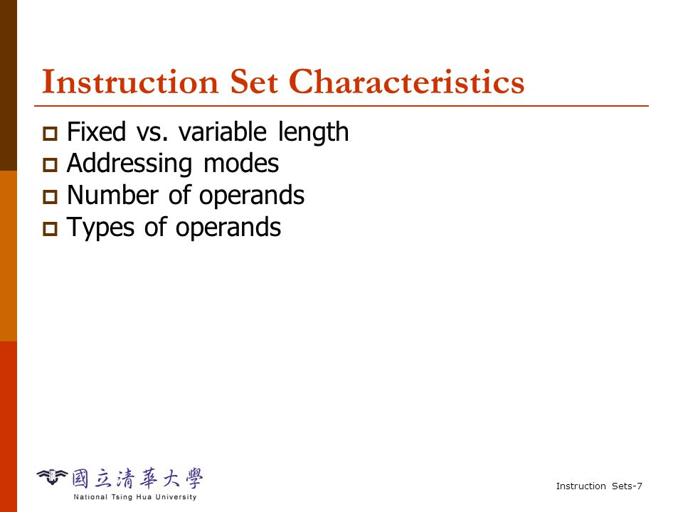 Instruction Sets-27 Example: C assignment  C: y = a*(b+c);  Assembler: ADR r4,b ; get address for b LDR r0,[r4] ; get value of b ADR r4,c ; get address for c LDR r1,[r4] ; get value of c ADD r2,r0,r1 ; compute partial result ADR r4,a ; get address for a LDR r0,[r4] ; get value of a MUL r2,r2,r0 ; compute final value for y ADR r4,y ; get address for y STR r2,[r4] ; store y Register reuse