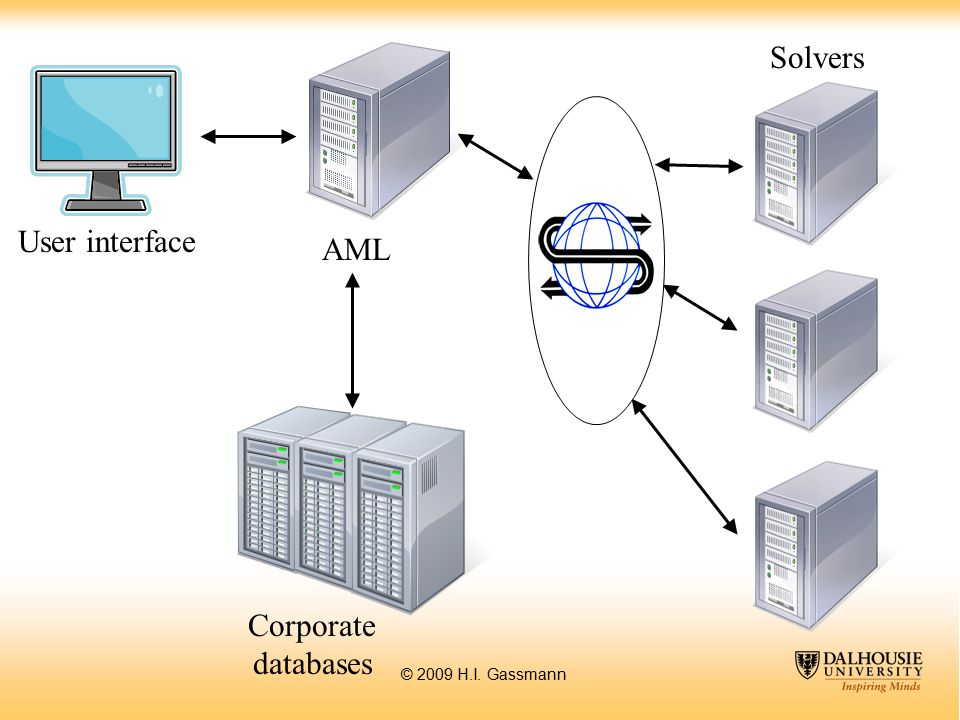 © 2009 H.I. Gassmann Solvers AML Corporate databases User interface Data inter- change