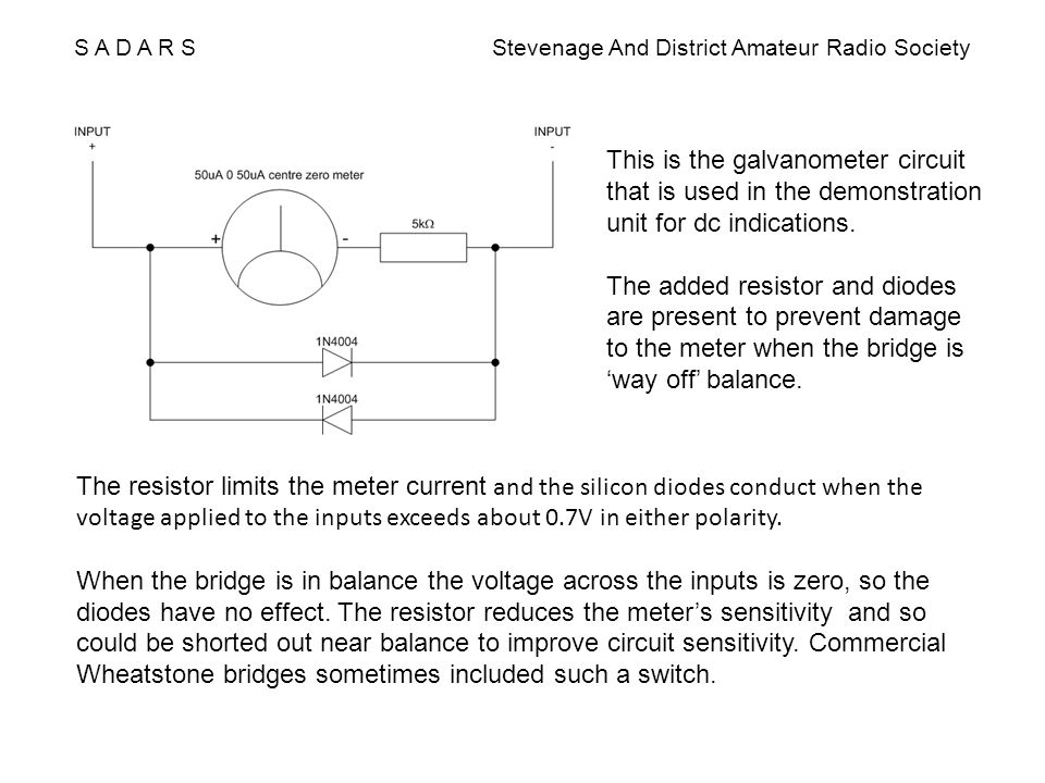 S A D A R S Stevenage And District Amateur Radio Society This is the galvanometer circuit that is used in the demonstration unit for dc indications. T