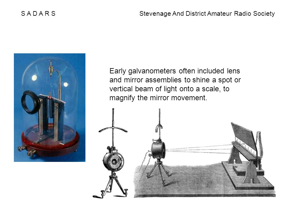 S A D A R S Stevenage And District Amateur Radio Society Early galvanometers often included lens and mirror assemblies to shine a spot or vertical bea