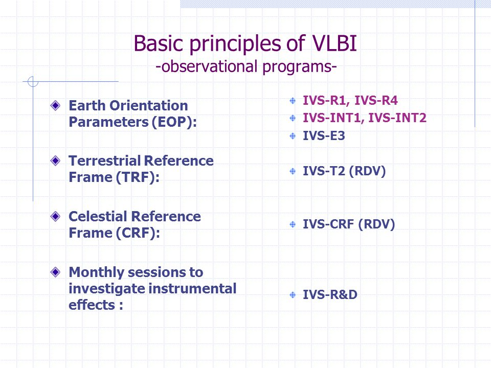 Basic principles of VLBI -observational programs- Earth Orientation Parameters (EOP): Terrestrial Reference Frame (TRF): Celestial Reference Frame (CRF): Monthly sessions to investigate instrumental effects : IVS-R1, IVS-R4 IVS-INT1, IVS-INT2 IVS-E3 IVS-T2 (RDV) IVS-CRF (RDV) IVS-R&D