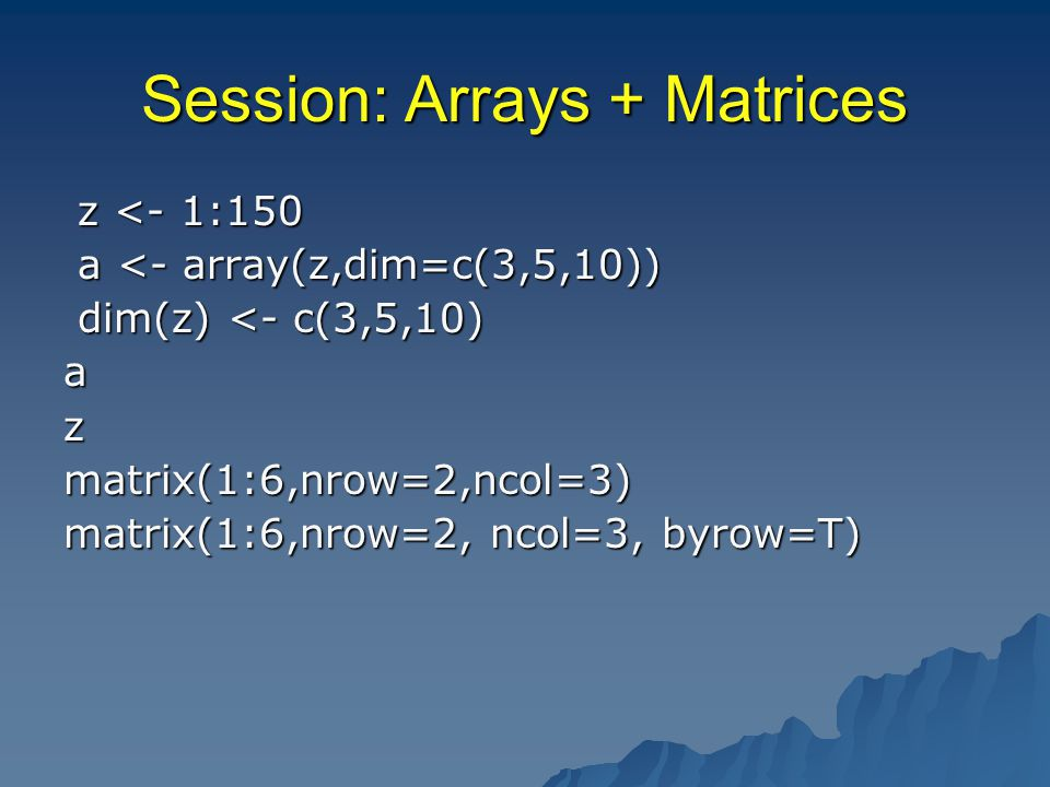 Session: Missing Arguments add <- function(x,y=0){#adds 2 numbers x + y} x + y}add(4) add <- function(x,y){#adds 2 numbers if(missing(y)) x add <- function(x,y){#adds 2 numbers if(missing(y)) x else x+y else x+y} add(4) add(4)
