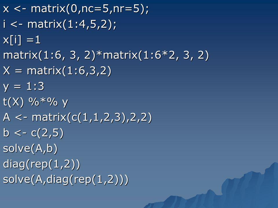 x <- matrix(0,nc=5,nr=5); i <- matrix(1:4,5,2); x[i] =1 matrix(1:6, 3, 2)*matrix(1:6*2, 3, 2) X = matrix(1:6,3,2) y = 1:3 t(X) %*% y A <- matrix(c(1,1
