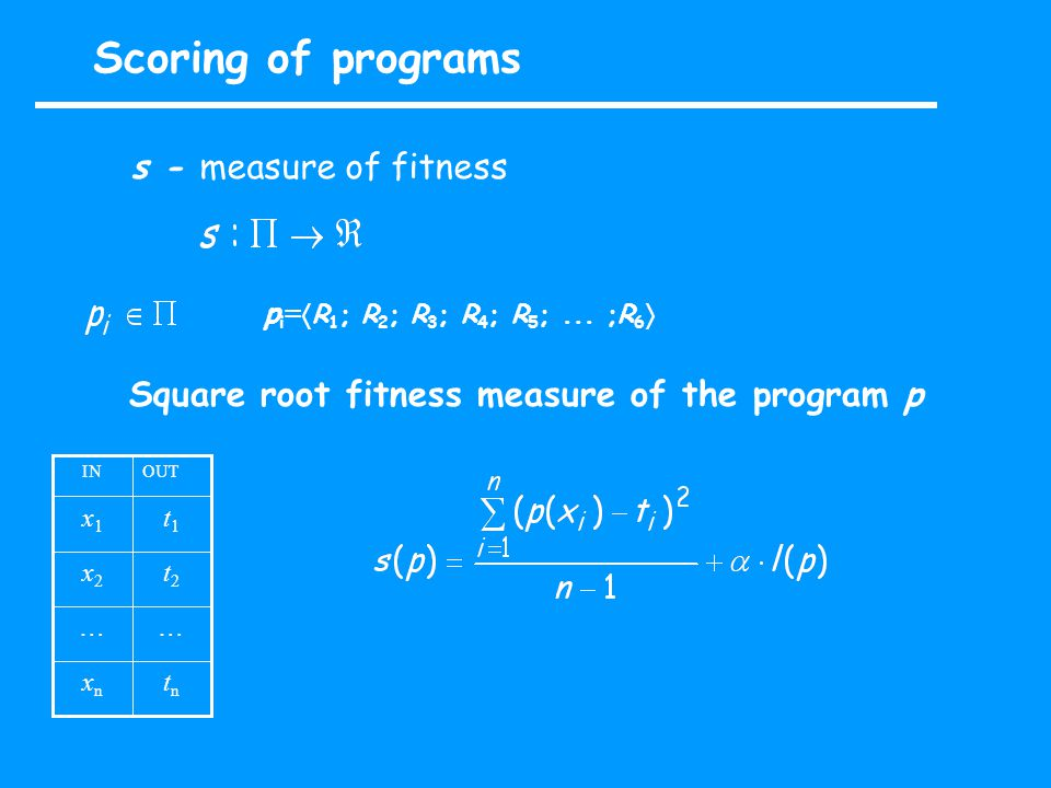 Scoring of programs s - measure of fitness p i =  R 1 ; R 2 ; R 3 ; R 4 ; R 5 ;...