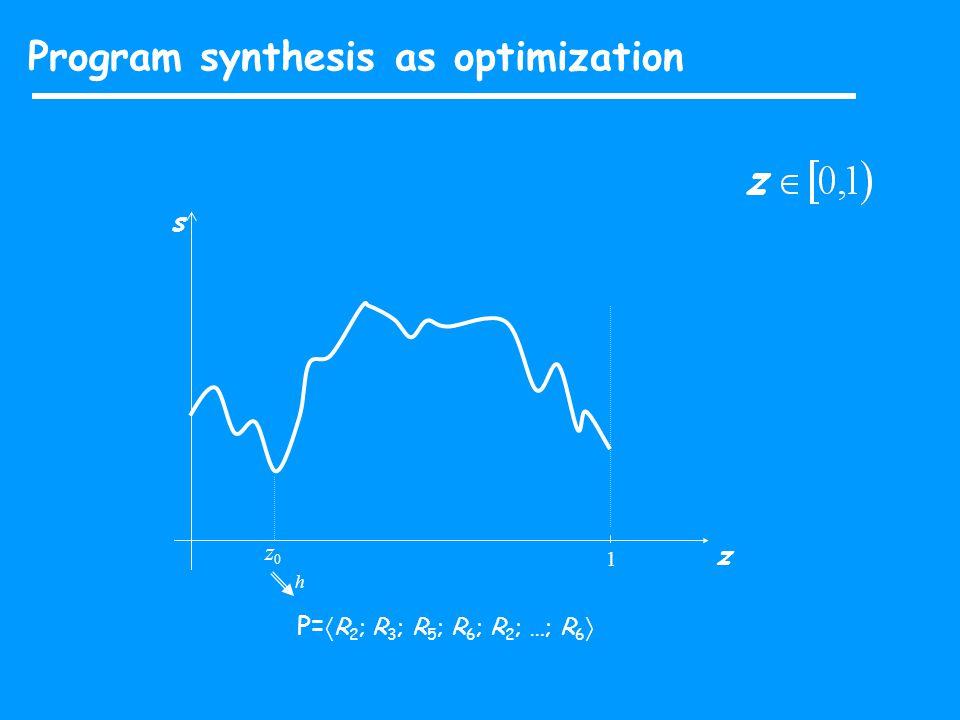 Program synthesis as optimization s z 1 z0z0 P=  R 2 ; R 3 ; R 5 ; R 6 ; R 2 ; …; R 6  h