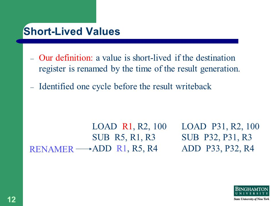 12 – Our definition: a value is short-lived if the destination register is renamed by the time of the result generation.