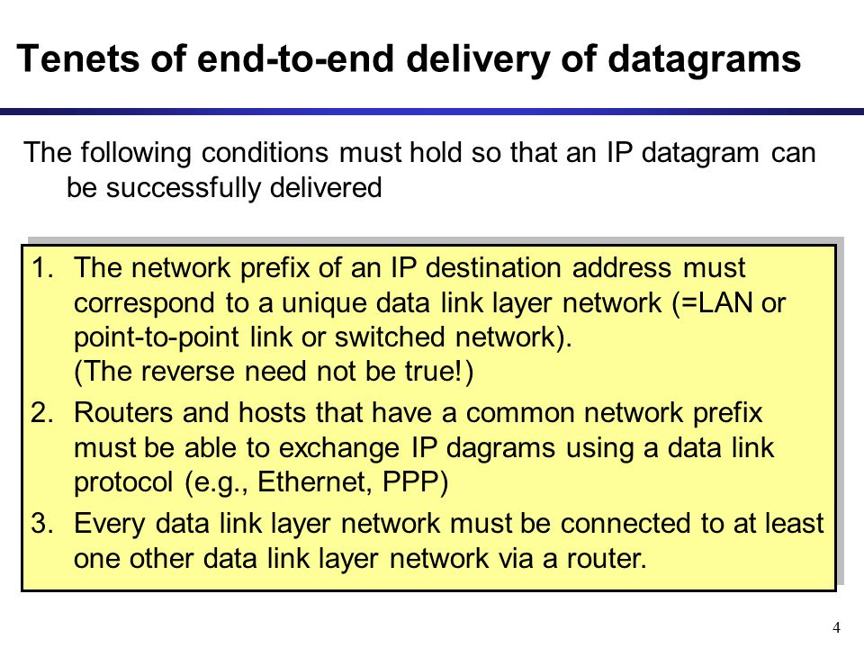 5 Routing tables Each router and each host keeps a routing table which tells how to process an outgoing packet Main columns: 1.Destination (=Network Prefix): Where is the IP datagram going to.