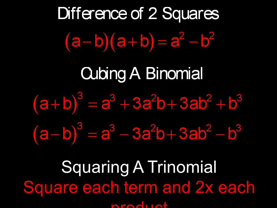 Squaring A Trinomial Square each term and 2x each product