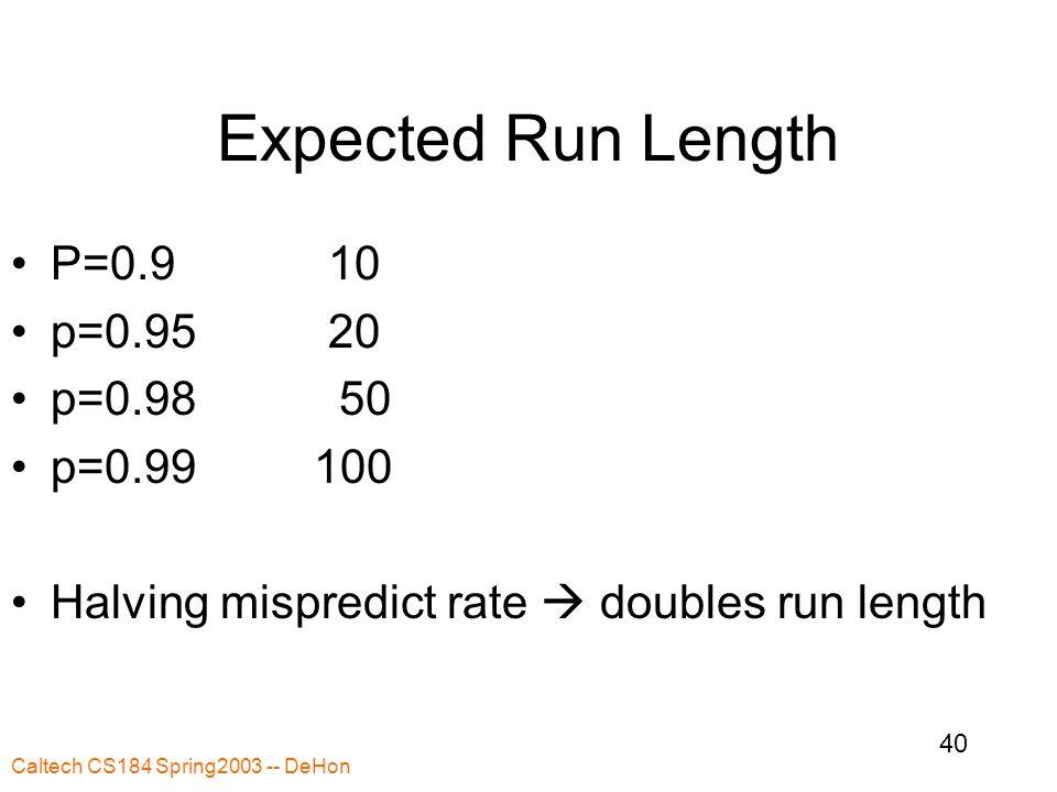 Caltech CS184 Spring2003 -- DeHon 40 Expected Run Length P=0.910 p=0.9520 p=0.98 50 p=0.99 100 Halving mispredict rate  doubles run length