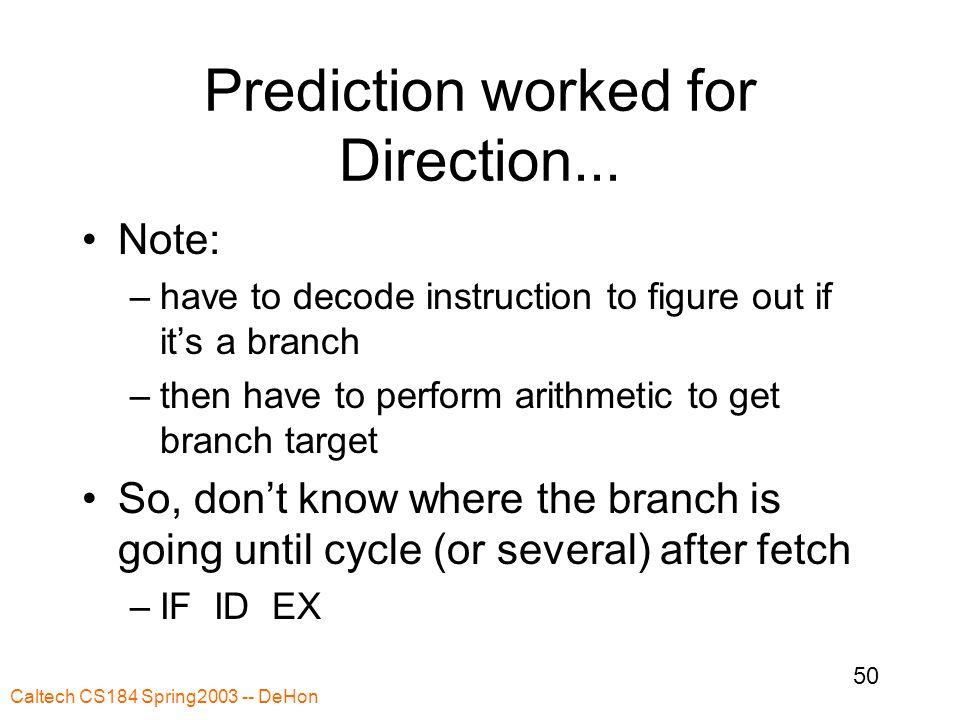 Caltech CS184 Spring2003 -- DeHon 50 Prediction worked for Direction...