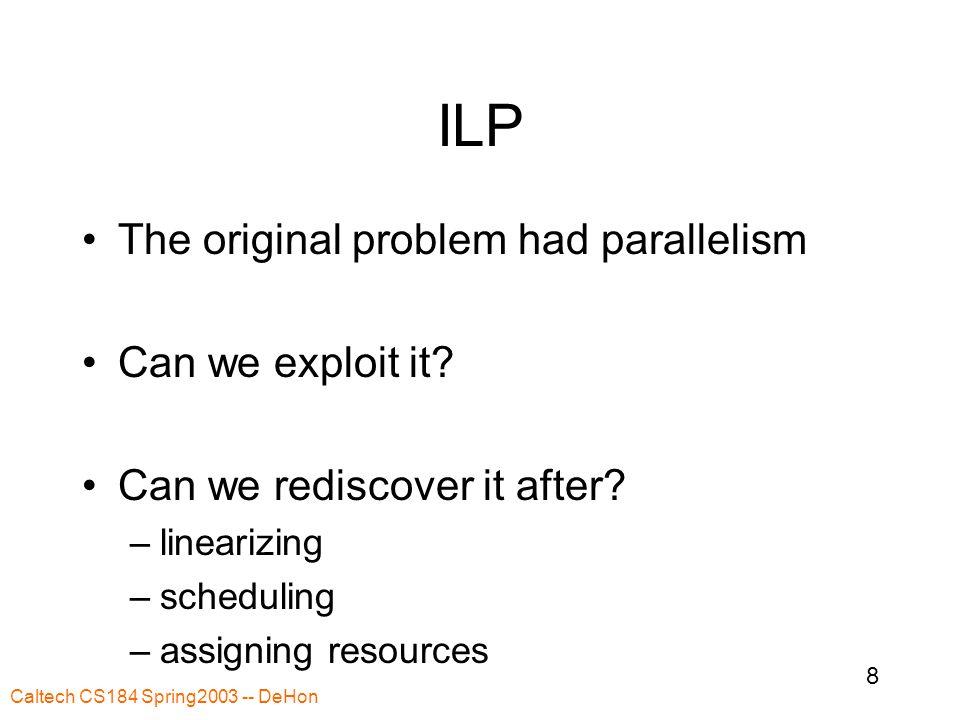 Caltech CS184 Spring2003 -- DeHon 8 ILP The original problem had parallelism Can we exploit it.