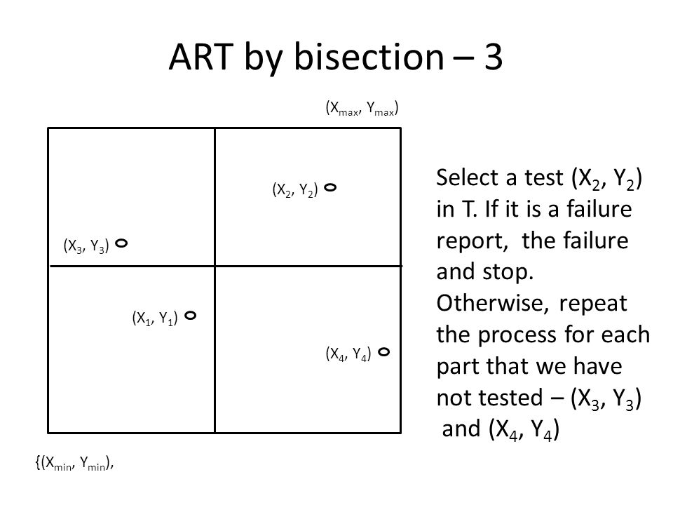 ART by bisection – 3 Select a test (X 2, Y 2 ) in T.