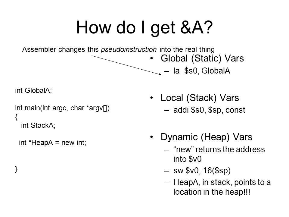 "How do I get &A? Global (Static) Vars –la $s0, GlobalA Local (Stack) Vars –addi $s0, $sp, const Dynamic (Heap) Vars –""new"" returns the address into $v"