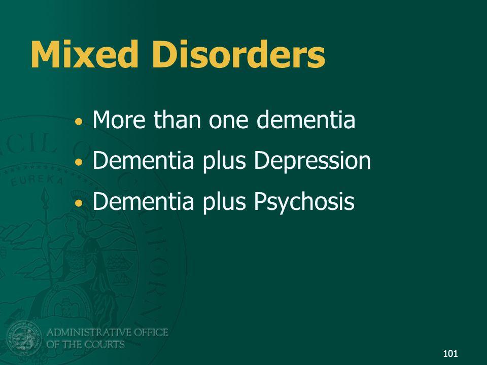 Mixed Disorders More than one dementia Dementia plus Depression Dementia plus Psychosis 101