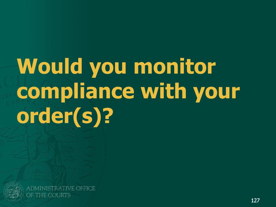 Would you monitor compliance with your order(s)? 127