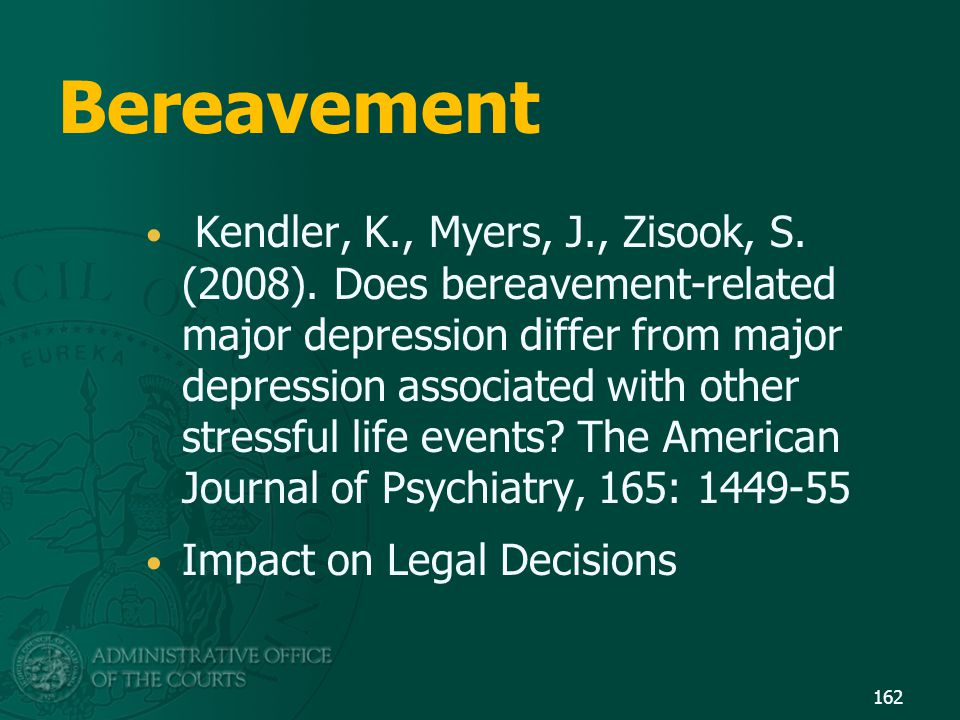 Bereavement Kendler, K., Myers, J., Zisook, S. (2008). Does bereavement-related major depression differ from major depression associated with other st