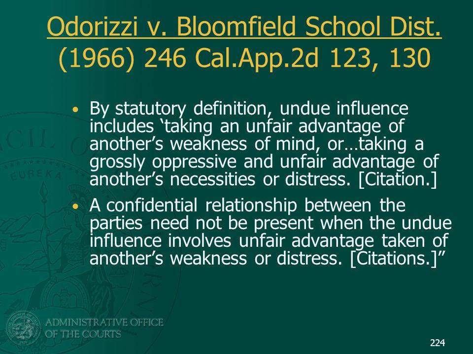 Odorizzi v. Bloomfield School Dist. (1966) 246 Cal.App.2d 123, 130 By statutory definition, undue influence includes 'taking an unfair advantage of an