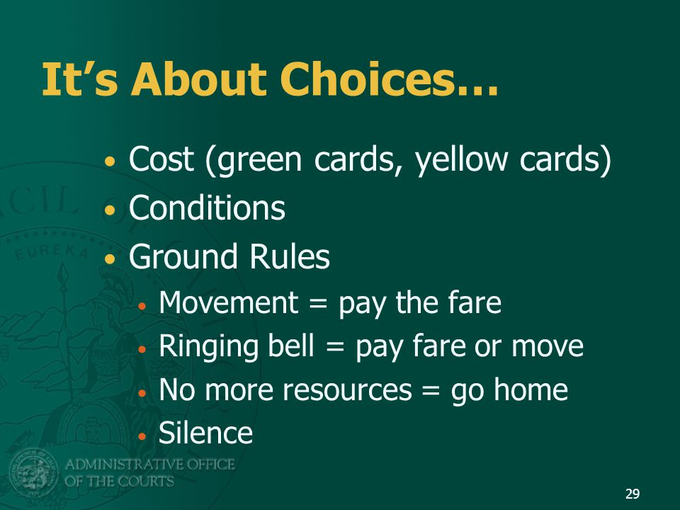 It's About Choices… Cost (green cards, yellow cards) Conditions Ground Rules Movement = pay the fare Ringing bell = pay fare or move No more resources